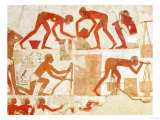 Construction of a Wall, from the Tomb of Rekhmire, Vizier of Tuthmosis III and Amenhotep II Giclee Print