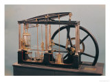Reconstruction of James Watt&#39;s Steam Engine, 1781 (Copper &amp; Glass) Giclee Print by James Watt
