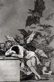 Le sommeil de la raison produit des monstres, tiré des «Caprices» Impression giclée par Francisco de Goya