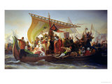 The Crossing of the Bosphorus by Godfrey of Bouillon (circa 1060-1100) and His Brother, Baldwin Giclee Print by Emile Signol
