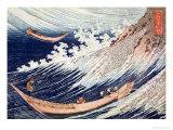 Two Small Fishing Boats on the Sea Giclée-tryk af Katsushika Hokusai