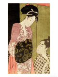 A Man Painting a Woman Gicleetryck av Kitagawa Utamaro