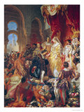 The Reception of Christopher Columbus (1450-1506) by Ferdinand II (1452-1516) of Aragon & Isabella Giclee Print by Eugene Deveria