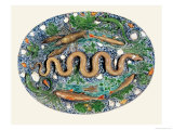 Large Oval Dish Moulded in Relief with Reptiles and Fish Giclee Print by Bernard Palissy