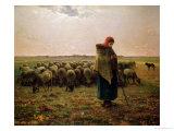 Shepherdess with Her Flock, 1863 Giclée-tryk af Jean-François Millet