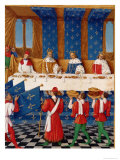 Banquet Given by Charles V (1338-80) in Honour of His Uncle Emperor Charles IV in 1378, circa 1460 Giclee Print by Jean Fouquet