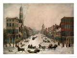 Wall Street in Winter Giclee Print by Peter Maverick
