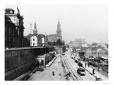 View of Dresden from the Bruehlsche Terrasse on the Katholische Hofkirche, circa 1910 Giclee Print by Jousset