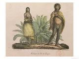 "Inhabitants of Easter Island, from ""Voyage Pittoresque Autour Du Monde,"" by G. Langlume, 1822 Giclee Print by Ludwig Choris"