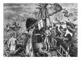 Christopher Columbus (1451-1506) on Board His Caravel, Discovering America Giclee Print by Jan van der Straet