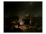 Bivouac of Napoleon I (1769-1821) 5th-6th July 1809, 1810 Giclee Print by Adolphe Roehn