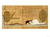 Funerary Papyrus Depicting the Deceased Prostrate in Front of the Crocodile (Papyrus) Giclee Print