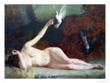 Woman with Pigeons, circa 1883 Giclee Print by Ernst Philippe Zacharie
