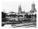 Selling Wood on the River Trave, Lubeck, circa 1910 Premium Giclee Print by  Jousset