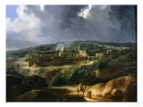 View of Jerusalem from the Valley of Jehoshaphat, 1825 Premium Giclee Print by Auguste Forbin