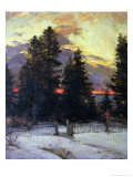 Sunset over a Winter Landscape, circa 1902 Giclee Print by Abram Efimovich Arkhipov