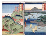 """A Landscape and Seascape, Two Views from the Series """"60-Odd Famous Views of the Provinces"""" Giclee Print by Ando Hiroshige"""