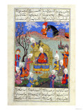 "A Messenger Brings News to Siavosh of the Birth of His Son, Illustration from the ""Shahnama"" Giclee Print"