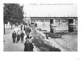Asnieres, Banks of the River Seine and the Railway Bridge, circa 1900 Giclee Print