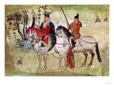 Two Horsemen in a Landscape Or, the Boddhisatva and His Equerry, Tang Period (Painted Stone) Giclee Print
