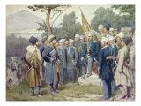Caucasian Leader Shamil (circa 1798-1871) Surrendering to Count Baryatinsky in 1859, 1880 Premium Giclee Print by Aleksei Danilovich Kivshenko