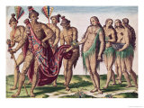 "Chief Satouriona and His Wife Go for a Walk, Plate XXXIX from ""Brevis Narratio.."" Premium Giclee Print by Jacques Le Moyne"