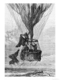 "Three Men in a Gondola, Illustration from ""Five Weeks in a Balloon"" by Jules Verne (1828-1905) Giclee Print by Édouard Riou"