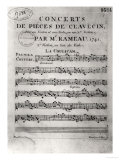 "Score Sheet for ""Concerts De Pieces De Clavecin"" by Jean-Philippe Rameau (1683-1764) 1741 Giclee Print by L. Hue"