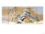 The Pines under Snow Giclée-tryk af Maruyama Okyo