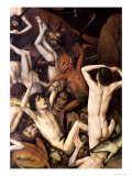 Hell, Detail of a Demon Hitting the Damned, circa 1450 Giclee Print by Dieric Bouts