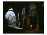 Interior of an Abbey in Ruins, 1848 Giclee Print by Hippolyte Victor Valentin Sebron