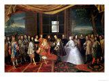 Louis XIV (1638-1715) and Philippe IV (1605-65) at Isle Des Faisans, 7 November 1659 Giclee Print by Laumosnier