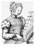Young Woman Playing a Portative Organ Giclee Print