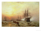 Man-O-War Firing a Salute at Sunset Giclee Print by Claude T. Stanfield Moore