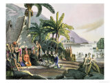 Expedition of Otto Von Kotzebue (1788-1846) and King Kamehameha I (1740/52-1819) Ovayhi Island Giclee Print by Ludwig Choris