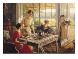 Women Taking Tea Premium Giclee Print by Albert Lynch