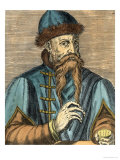 Portrait of Johannes Gutenberg (circa 1400-68) (Later Colouration) Premium Giclee Print by Albrecht Mentz
