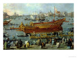 Departure of the Bucentaur Towards the Venice Lido on Ascension Day, Detail of the Boat, 1766-70 Giclee Print by Francesco Guardi