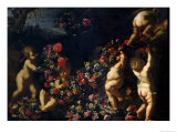 Putti Playing with Garlands of Flowers Giclée-tryk af Carlo Maratti