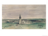 Church and Village in the Middle of a Field, Montigny, 1866 Giclee Print by Louis Adolphe Hervier