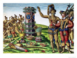 Rene Goulaine De Laudonniere (circa 1529-82) and Chief Athore in Front of Ribault's Column Premium Giclee Print by Jacques Le Moyne
