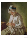 The Seamstress Or, Young Woman Working Premium Giclee Print by Francoise Duparc
