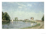 At the River&#39;s Edge, 1871 Giclee Print by Camille Pissarro