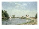 Sulla riva del fiume, 1871 Stampa giclée di Camille Pissarro