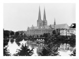 View of the Museum with the Marienkirche in the Background, Lubeck, circa 1910 Giclee Print by  Jousset