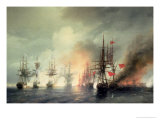Russian-Turkish Sea Battle of Sinop on 18th November 1853, 1853 Giclée-Druck von Ivan Konstantinovich Aivazovsky