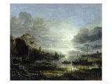 Landscape in Moonlight Giclee Print by Aert van der Neer
