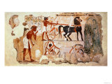 Inspecting the Fields, Part of a Wall Painting from the from the Tomb of Nebamun, Thebes Giclee Print