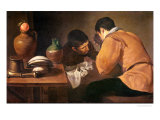 Two Men at Table, circa 1620-21 Giclee Print by Diego Velázquez