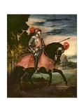 The Emperor Charles V (1500-58) on Horseback in Muhlberg, 1548 Giclée-tryk af Titian (Tiziano Vecelli)
